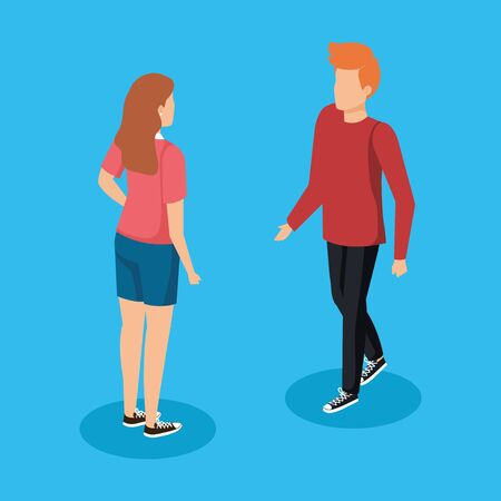 nice woman and man talking with casual clothes vector illustration