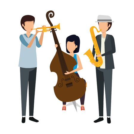 musical group playing instruments vector illustration design Ilustrace