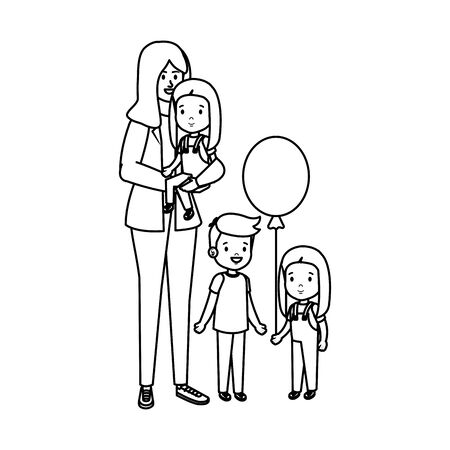 young mother with little kids vector illustration design