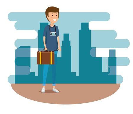man with travel baggage and camera to journey vector illustration