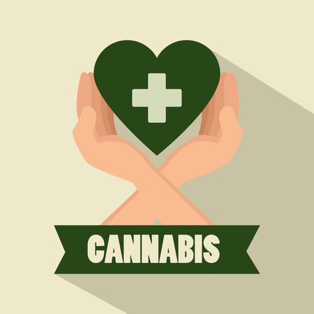 hands with heart and cross sign to medicine cannabis vector illustration