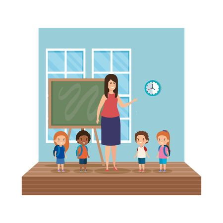 teacher female with school kids classroom scene vector illustration design