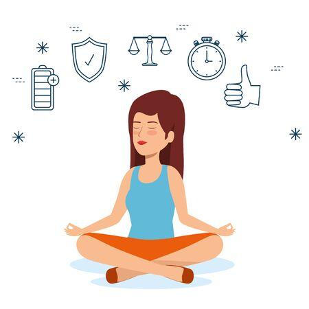 woman relaxation to health lifestyle balance vector illustration Иллюстрация