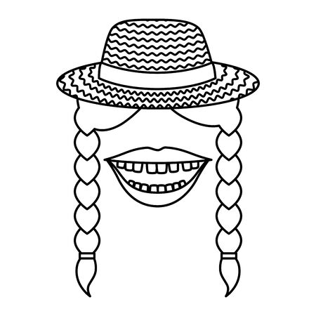 female gardener straw hat with mouth and braids vector illustration design Banco de Imagens - 133839008