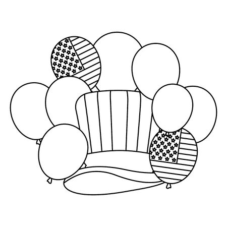 tophat and balloons helium with usa flag vector illustration design