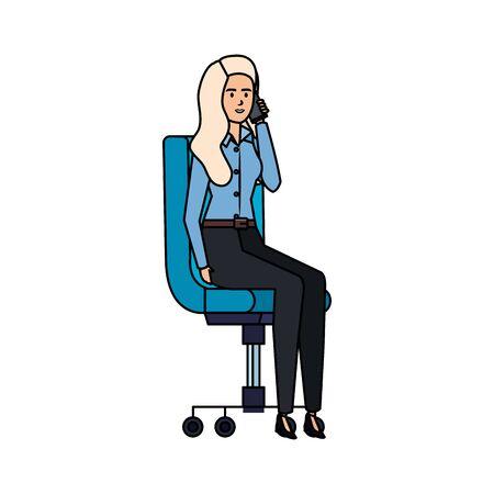 elegant businesswoman sitting in office chair vector illustration design Ilustração Vetorial