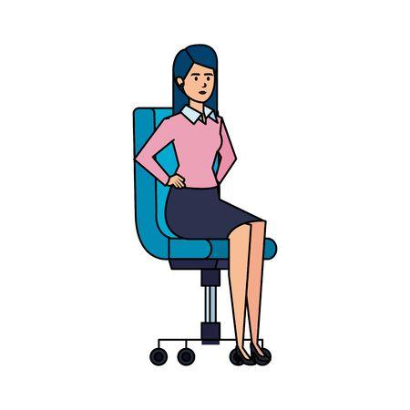 elegant businesswoman sitting in office chair vector illustration design