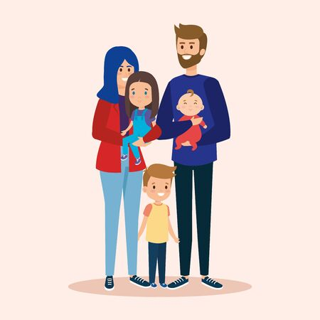 cute woman and man with daughter and sons vector illustration
