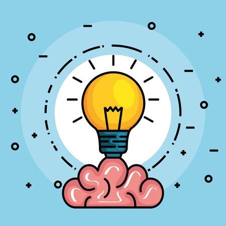Etiqueta con cerebro y bombilla creativa idea ilustración vectorial