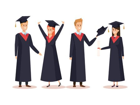 set of happy women and men graduation with rope vector illustration