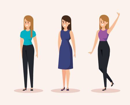 set of happy women with casual clothes and hairstyle vector illustration Illustration