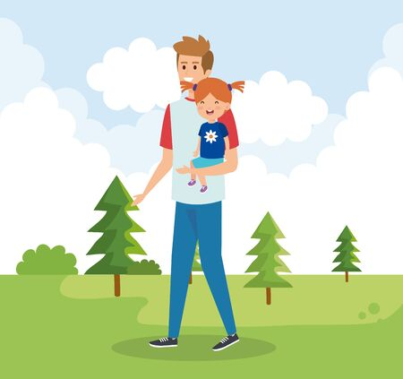 happy man with his daughter child and pines vector illustration