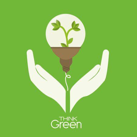Ecology design over green background, vector illustration. Banque d'images - 133839180