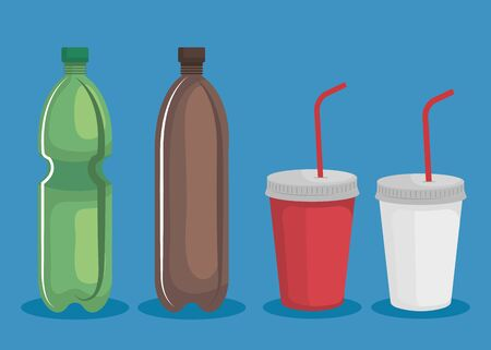 set of toxic plastic bottles and cups waste over blue background vector illustration
