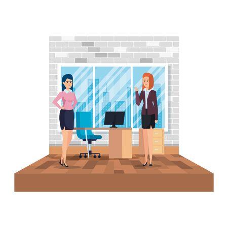 elegant businesswomen in the office scene vector illustration design