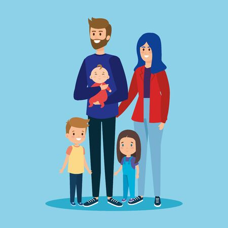 cute man and woman with their sons and daughter vector illustration