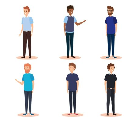 set nice men with clothes and hairstyle vector illustration