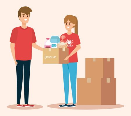 boy and girl volunteers with boxes donation vector illustration Illustration