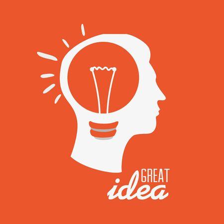 Idea design su sfondo arancione, illustrazione vettoriale.