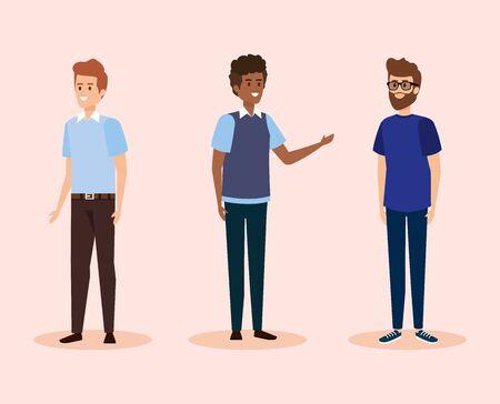 set men teacher with casual clothes vector illustration Illustration