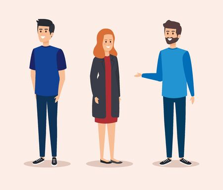 cute girl and boys with casual clothes vector illustration Illustration