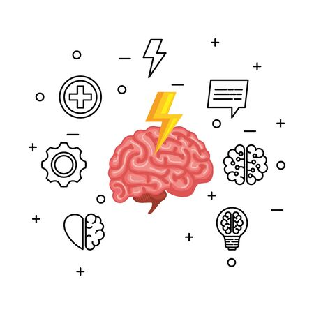 brain human organ with ray power and set icons vector illustration design