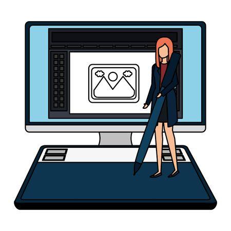 elegant businesswoman with pen in desktop vector illustration design