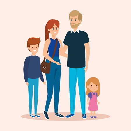 cute man and girl with son and dauther vector illustration