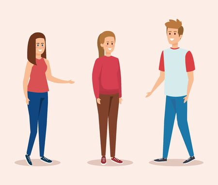 cute girls and boy with casual clothes vector illustration