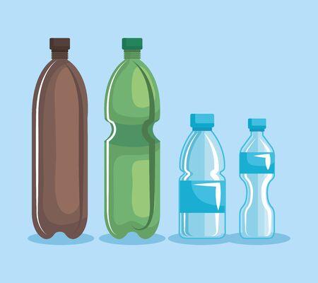 set of plastic bottles and toxic waste over blue background vector illustration