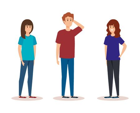 cute girls and boy with hairstyle and casual clothes vector illustration