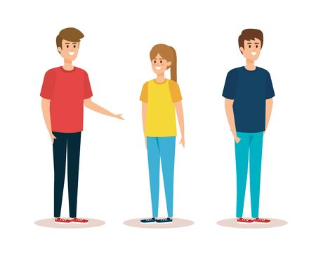 cute boys and girl with hairstyle and casual clothes vector illustration