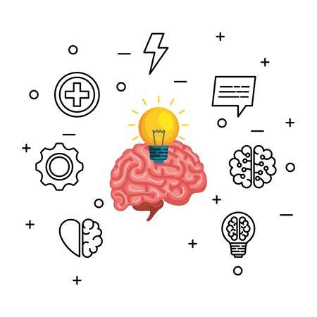 brain human with bulb and set icons vector illustration design Фото со стока - 133839695