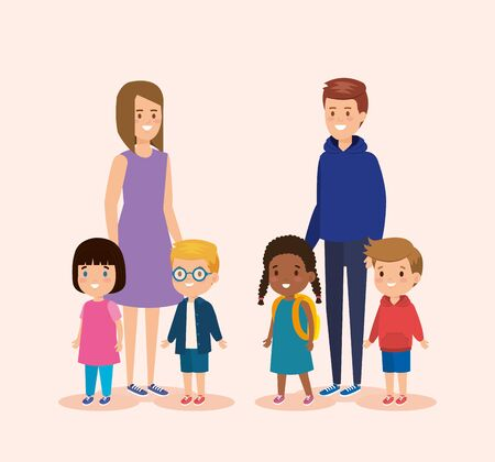 girl and boy teens with children and casual clothes vector illustration