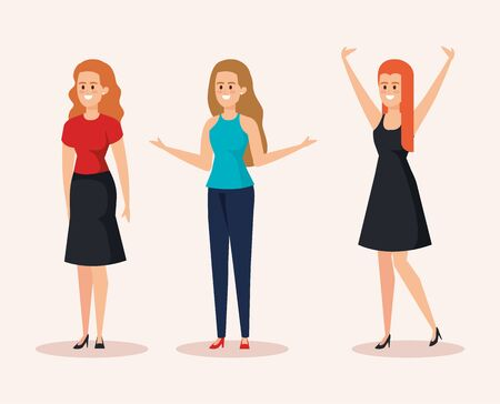 set of nice women with casual clothes and hairstyle vector illustration