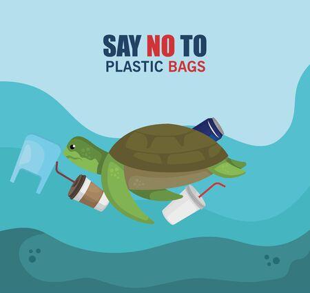 turtle animal in the sea with toxic plastics contamination vector illustration
