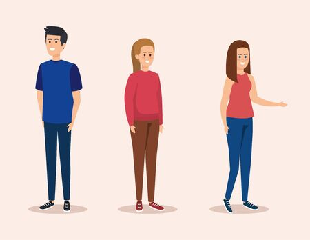set boy and girls with casual clothes vector illustration