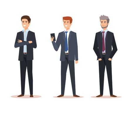 set professional businessmen with company documents success vector illustration
