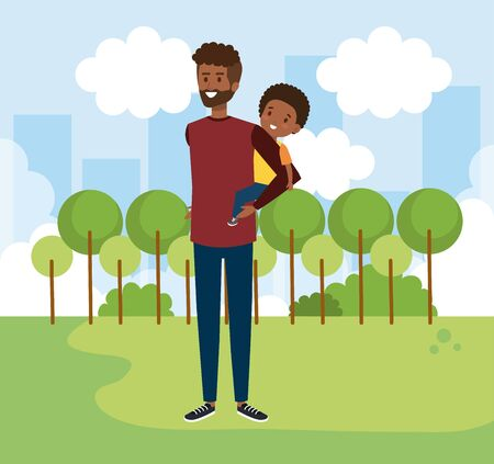 happy man with his son and trees with bushes vector illustration
