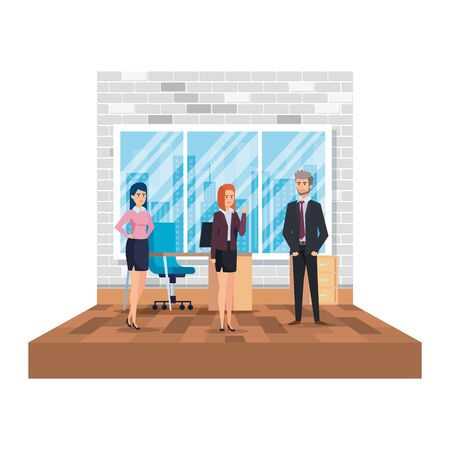 business people in the office scene vector illustration design
