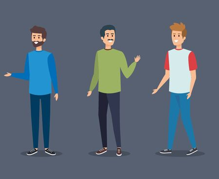 nice boys with hairstyle and casual clothes vector illustration