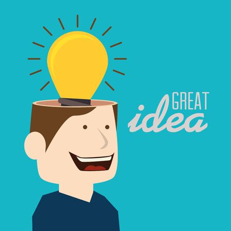 Idea, design over blue background, vector illustration.