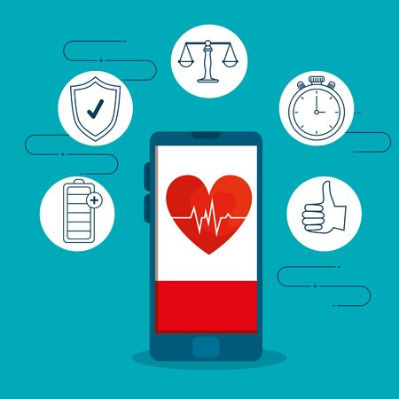 smartphone with heartbeat and exercise harmony lifestyle vector illustration