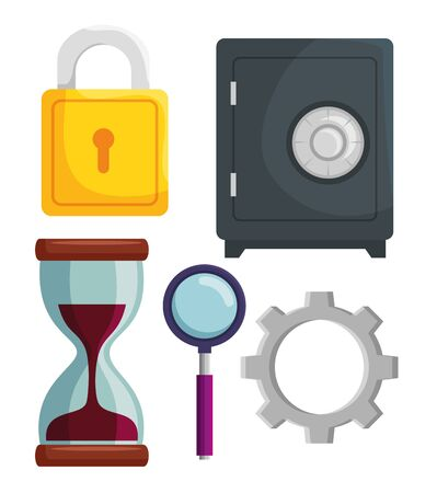 set of strong box with padlock security and hourglass with gear vector illustration Фото со стока - 133840237