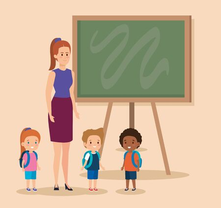 professional woman teacher with kids and blackboard vector illustration