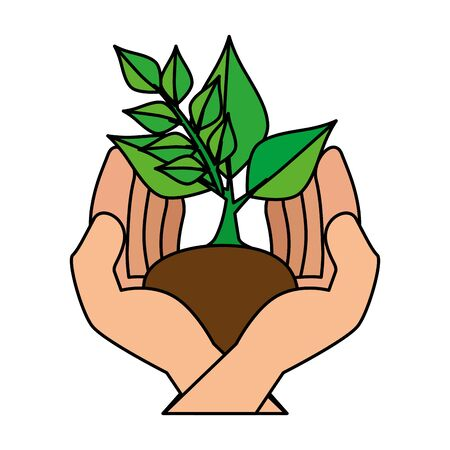 hands protected ecology leafs plant vector illustration design Banque d'images - 133840340