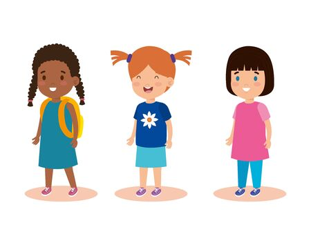 set girls children with casual clothes vector illustration