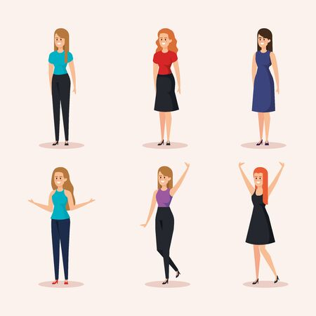 set of nice women with hairstyle and casual clothes vector illustration Illustration