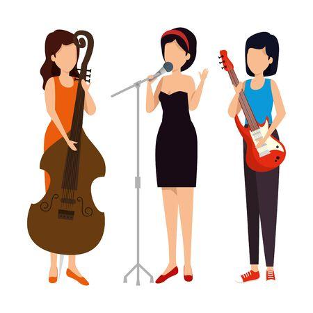 musical group playing instruments vector illustration design Ilustração