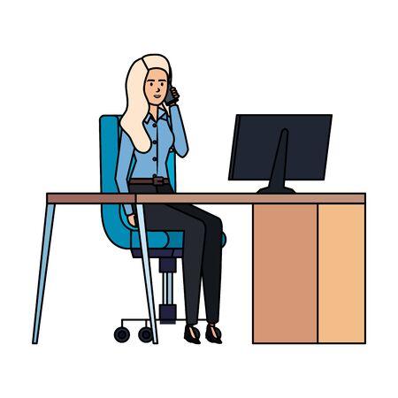 elegant businesswoman in the workplace vector illustration design Ilustração Vetorial